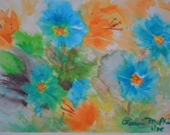 Field of Flowers Watercolor with Beveled Mat