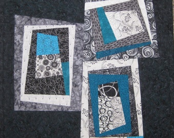 Art Quilt Black Turquoise Wonky Blocks