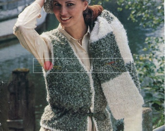 Lady's Waistcoat, Beret and Scarf Aran 32-38in Sunbeam 475 Vintage Knitting Pattern PDF instant download