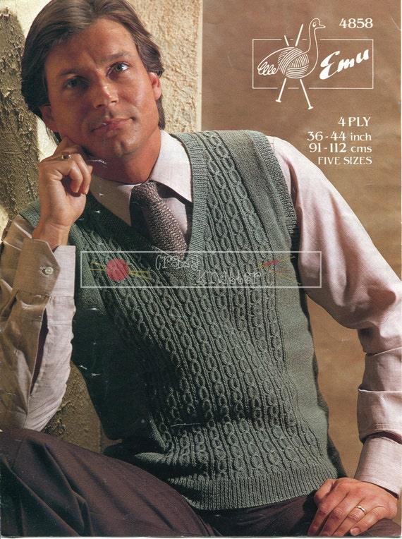 Men's Cable Pullover 4ply 36-44in Emu 4858 Knitting Pattern PDF instant download