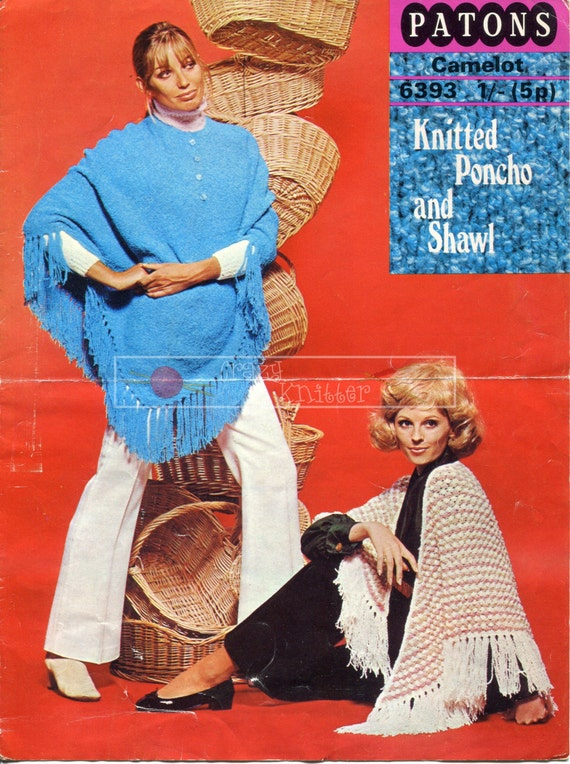 Lady's Poncho and Shawl DK one size Patons 6393 Vintage Knitting Pattern PDF instant download