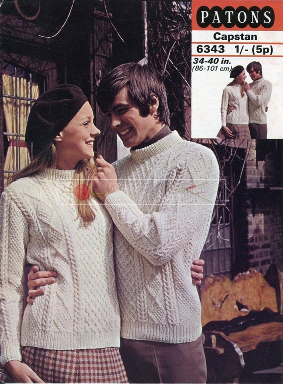 Unisex Aran Cable Sweaters DK 34-40in Patons 6343 Vintage Knitting Pattern PDF instant download
