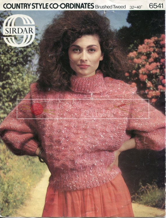 Lady's Sweater Aran 32-40in Sirdar 6541 Vintage Knitting Pattern PDF instant download