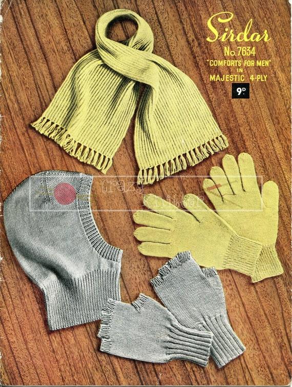 Men's Gloves Mittens Helmet Scarf 4-ply Sirdar 7634 Vintage Knitting Pattern PDF instant download