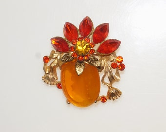 "Bright Orange Lucite Cabochon Glass Crystal Rhinestone Gold Tone Posy Flower 2"" Brooch Pin"