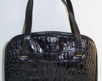 Stylish Vintage Black Croc Crocodile Alligator Leather shoulder Bag Purse
