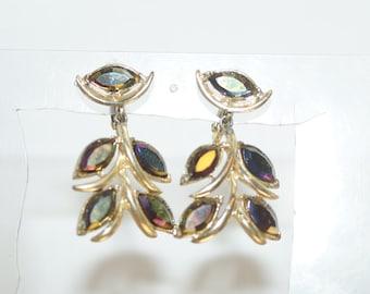 "Deep Purple Aurora Borealis Rhinestone 1.5"" Clip  Earrings"