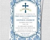 Blue Damask First Communion Invitation - First Communion Celebration - Digital Design or Printed Invitations - FREE SHIPPING