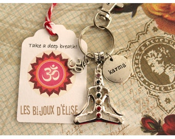 Chakra Keychain Yoga Bag dangle Purse with 7 Rhinestones Jewelry
