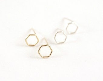 Tiny Hexagon Stud Earrings, Studs - Sterling Silver or Gold Filled