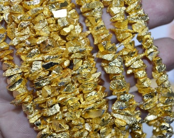 AAA Quality Gold Pyrite Rough Chips 5 to 7 mm ,8 inch Strand