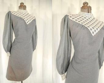 1960s Dress // 60s Dress // Grey Lace Mini Dress
