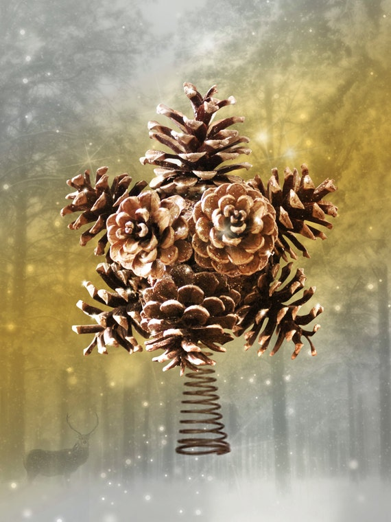 Magical tree topper Pine cone tree topper Christmas Home