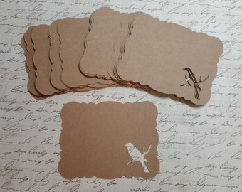 Die Cut Brackets/Cards. Bird cutout. KRAFT PAPER  #ART-30