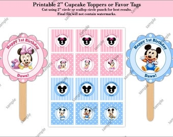 "Baby Mickey Mouse and Baby Minnie Mouse 2"" Cupcake Toppers or Favor Tags - Digital File"