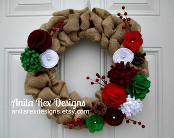 Christmas Wreath, Burlap Wreath, Door Wreath, Felt Flower Wreath