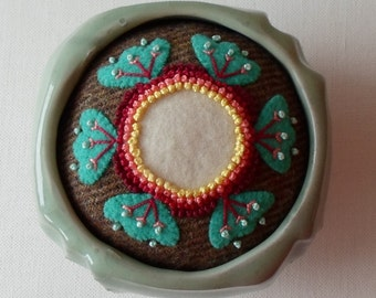 Handmade Pincushion Felted Wool Art Deco Flower in a Teal Pottery Dish
