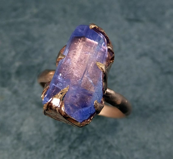 Raw Tanzanite Crystal Rose Gold Ring Rough Uncut Gemstone