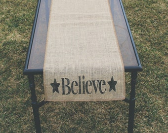 Burlap Table Runner, Table Runner, Believe Table Runner