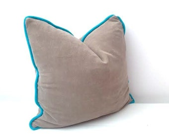 "Terry Taupe Throw Pillow, Beige Cushion 20"" by 20"" , Modern Home Decor"