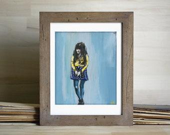 Shy. Original Art Print, Giclee Art, Modern Home Decor, thatpaintedgrove