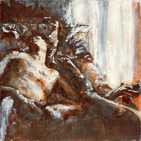 Original Painting-Male Nude-Figurative-Mixed