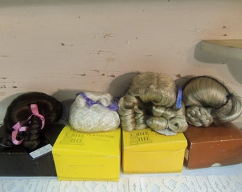 5 Vintage Doll Wigs Various Sizes and Colors 4 with Original Boxes   C53
