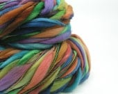 Handspun Thick and Thin Yarn, 15 micron Merino, Vivid Pastels, Blue, Green, Orange, Rust, Purple - HIPPIE