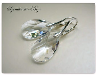 Silver earrings with Swarovski Elements Pear-shaped 22mm Crystal