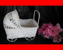 SALE!!  Large Vintage Wicker Baby Buggy - Great for Baby Shower Decorations