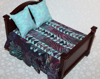 Teal and Burgundy Batik Miniature Quilt with Pillows - 1:12 Scale