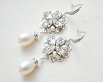 Bridal Earrings Vintage, Wedding Earrings Chandelier, Pearl and Crystal Earrings