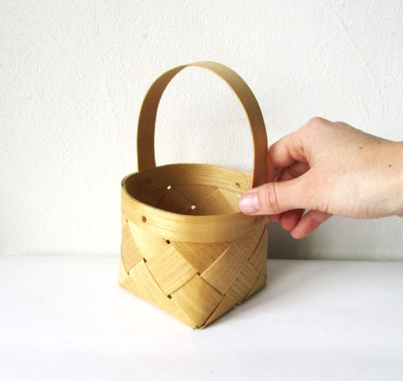 Woven Basket Wooden Small Wicker Flower Pot Holder Rustic