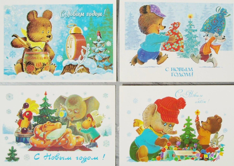 postkarten set russische urlaub weihnachten gru karten set 4. Black Bedroom Furniture Sets. Home Design Ideas