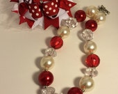 Valentines day necklace bow combo set