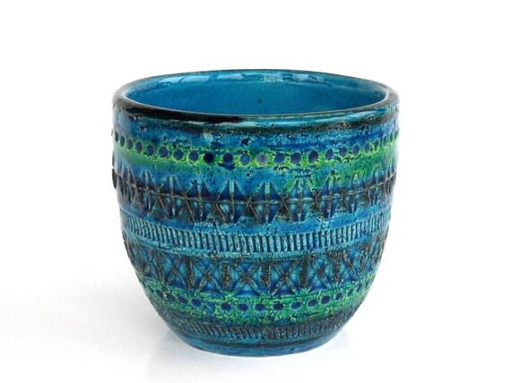 Bitossi Rimini Blue Pottery Planter 701 12 Italian Teal Plant