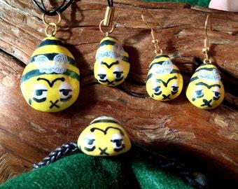 Zom-BEE/Zombie Bee Polymer Clay Jewelry Set - Necklace, Bracelet, Earrings, Phone Charm/Zipper Pull