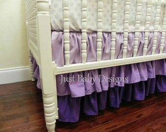Lavender 3 Tiered Ruffle Ombre Crib Skirt