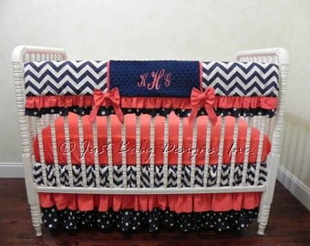 Navy and Coral Baby Bedding Set Hillary - Girl Baby Bedding, Bumperless Crib Bedding, Crib Rail Cover, Ruffled Skirt