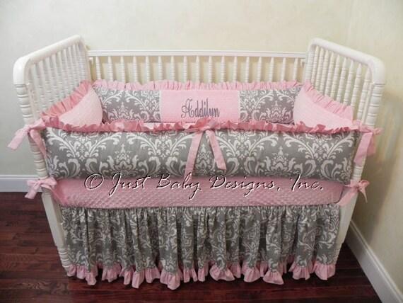 Baby Girl Crib Bedding Set Addilyn   Girl Baby Bedding  Pink and Gray Crib  Bedding. Baby Girl Crib Bedding Set Addilyn Girl Baby Bedding Pink