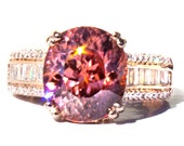 Round Tanzanian Peach Zircon & Diamond Ring