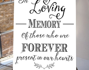 In Loving Memory, Wedding Sign, Memorial Table, 8x10 and 5X7inches, Printable, INSTANT DOWNLOAD your wedding  Table Sign white suite