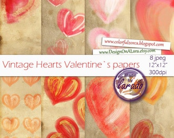 Vintage Valentine digital papers, vintage paper with hearts, hearts old backgrounds in vintage romantic colors, perfect for valentine 's day