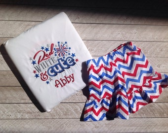 Fourth of July-Red white and cute Fourth of July applique shirt with matching ruffle shorts