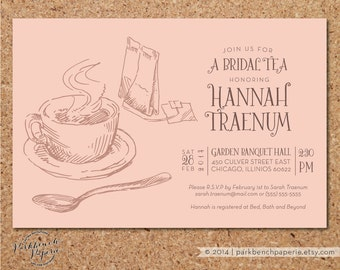Printable Bridal Shower Invitation - Customized with your Information - Tea Shower - Peach