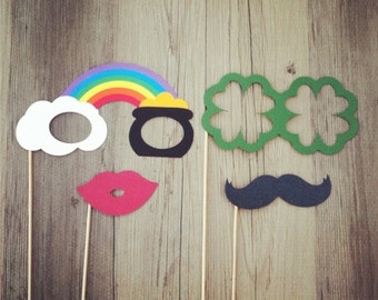 Lucky Photo Props - Set of 4 - Rainbow, Pot of Gold, Lucky Clovers - Photo Booth Props, Party Props, Good Luck Props, St. Patrick's Day