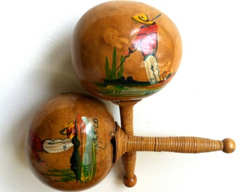 Rare Maracas. Mexico & Florida - Pristine Condition. Rattan Wrapped Handles. Handmade, Hand Painted. Circa 1950s.