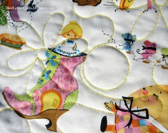 Mother Goose Patchwork Quilt - Sweet & Rare Nursery Rhyme Fabric! Traditional Heirloom w/ Modern Quilting