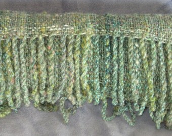 Meadow I -- hand woven scarf in multiple shades of green - sold to Renee