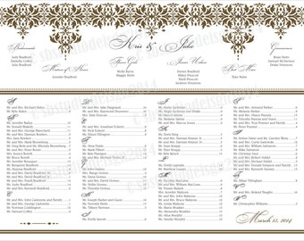 Gold Wedding Seating Chart 24x36
